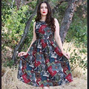 Retrolicious Spellbound Midi-Dress Halloween Print